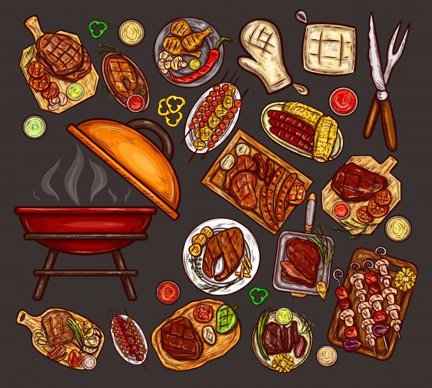 Free Download Set Of Vector Illustrations Elements For Barbecue Vector Illustration Recipe Drawing Food Drawing
