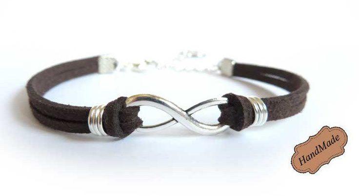 Bracciale infinito infinity uomo braccialetto SILVER RING pelle MARRONE, by «:::Mosquitonero Shop:::», 7,99€ su misshobby.com