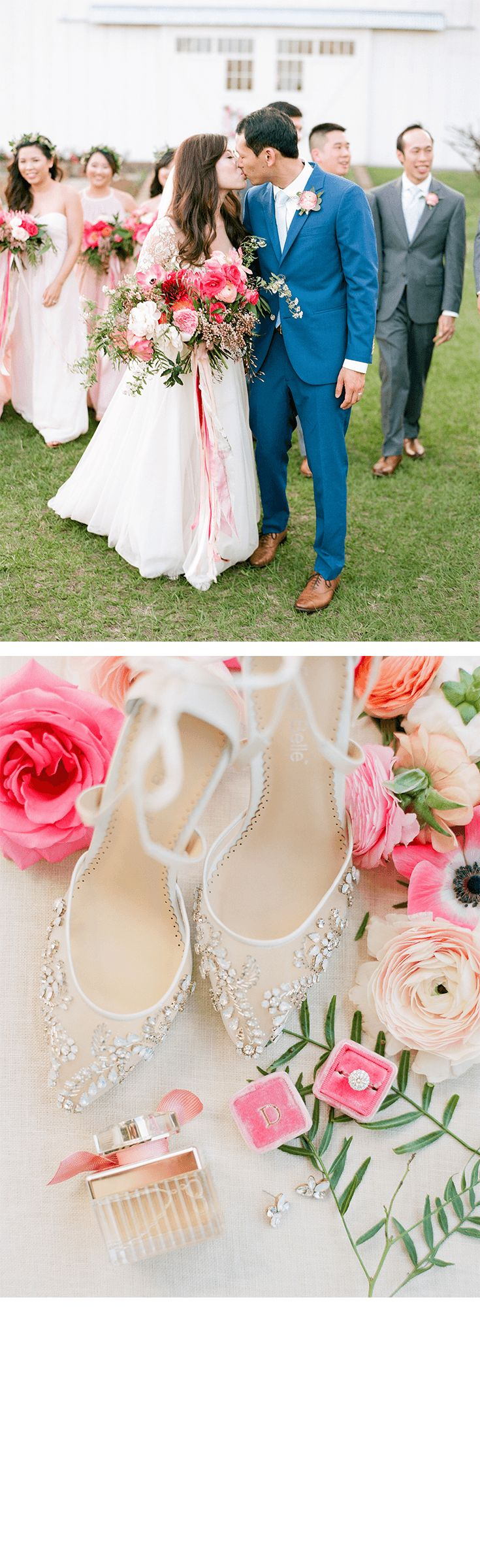 We LOVE the blush, pink, whites and green color hues on our #RealBride Deborah's rustic barn outdoor wedding! Wearing our Bella Belle Florence, a crystal embellished ivory wedding shoes with ballerina inspired tie ankle straps with a Hayley Paige long sleeve floral and tulle feminine wedding dress, Deborah looks gorgeous and beautiful!