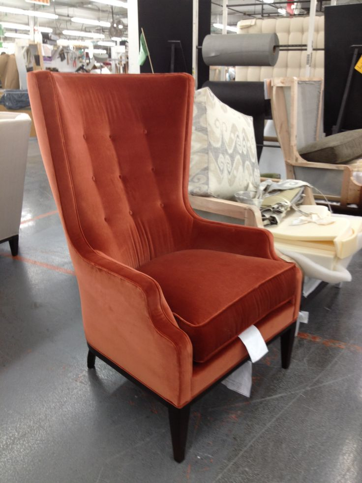 The elliott wing chair looks handsome in this persimmon velvet 1911 collection hickory for Hickory chair bedroom furniture