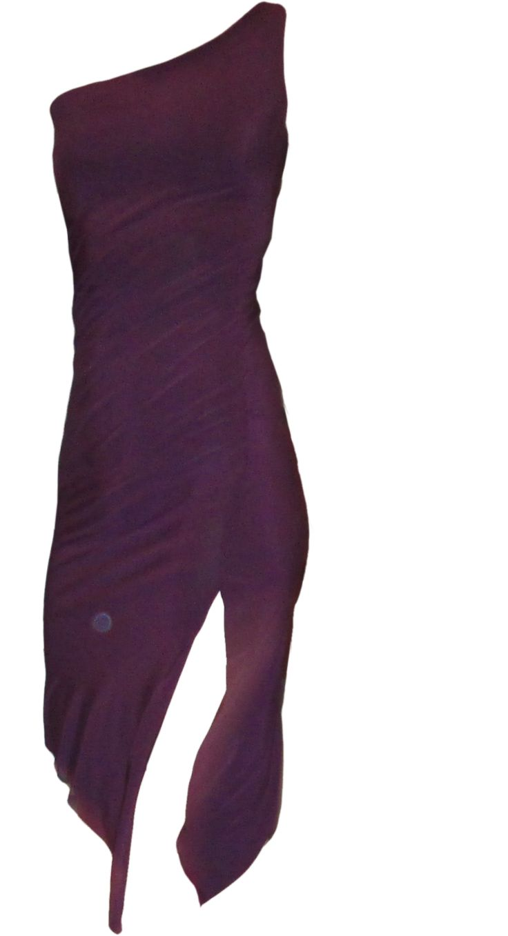 Sleek | Side pivot view | One-shoulder slim fit tango dress with slit and invisible built-in padded bandeau