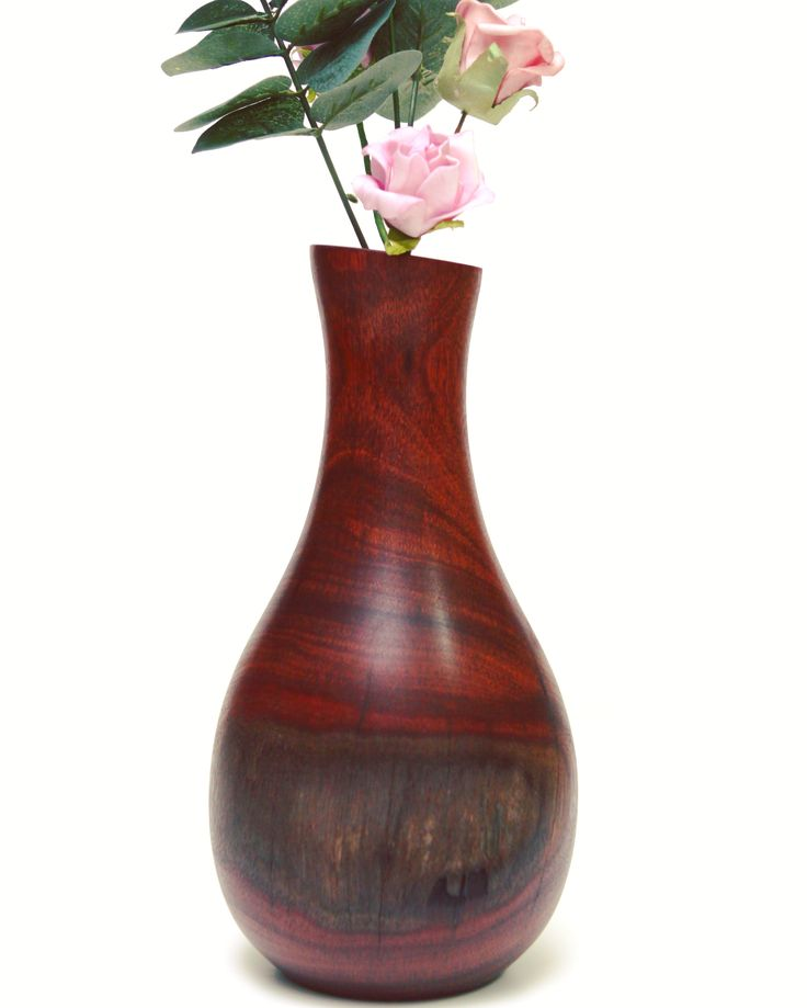 Lark & Owl Wood Turned Jarrah Vase 26x13cm with a 2.5x20cm glass insert $87