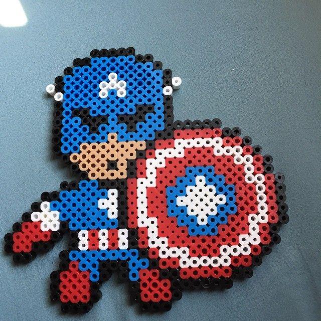Captain America perler beads by poffdaughter