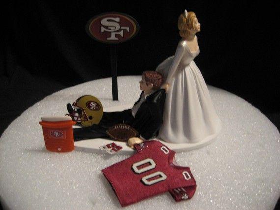 San Francisco 49ers Wedding Cake Topper Bride Groom by finsnhorns, $45.00
