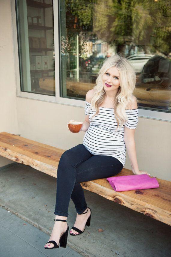 Striped Bardot Maternity Shirt maternity shirt by tolittlearrows