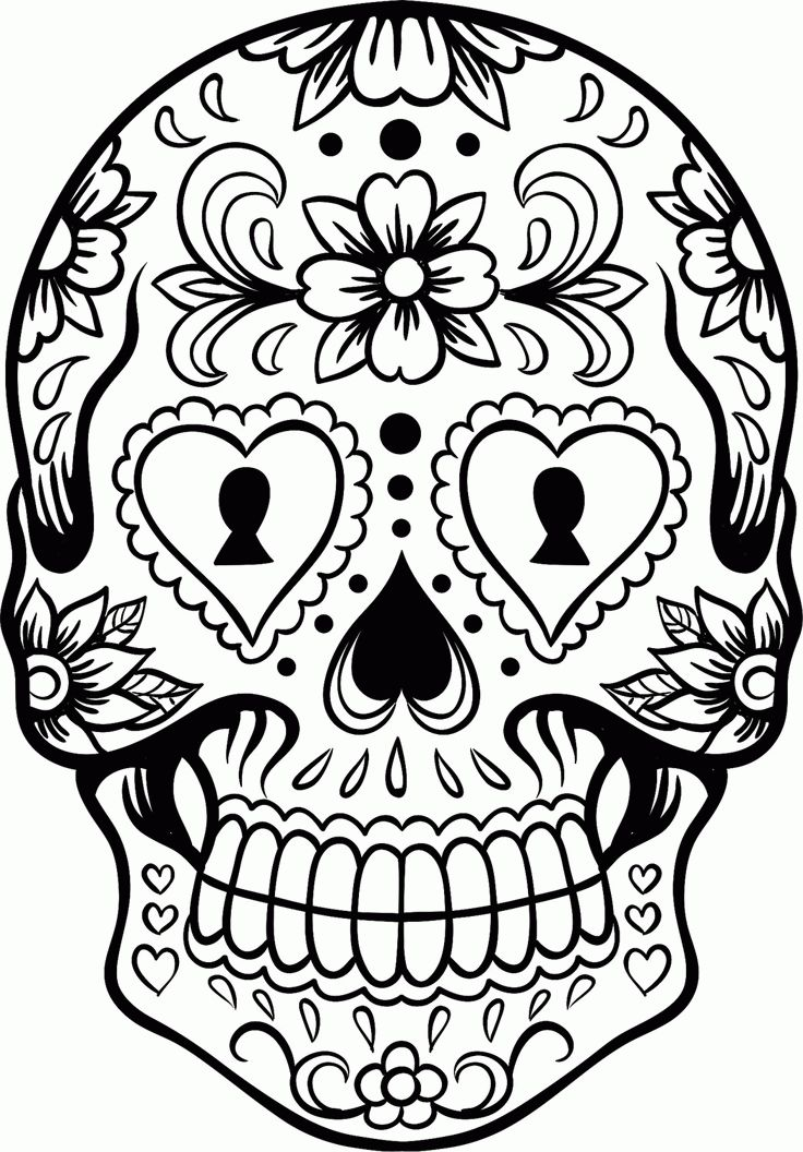 Mexican Sugar Skull Coloring Pages For Adults