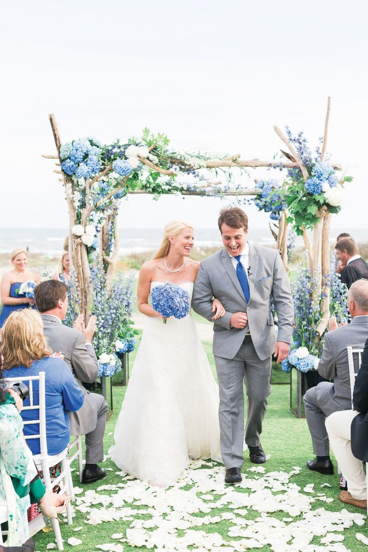 Beach Chic Ocean Course Wedding on The Knot! Love this perfectly happy pic by Corbin Gurkin