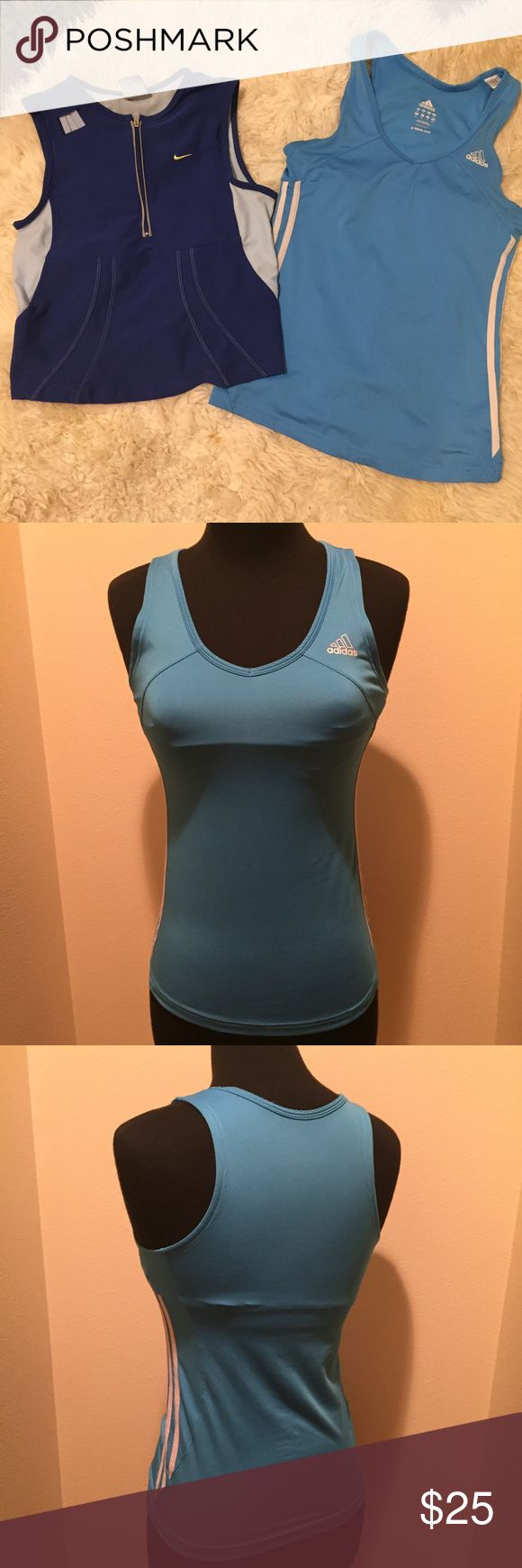 NIKE/ADIDAS WORKOUT SHIRTS BUNDLE Bundle of NIKE/ADIDAS workout tops/shirt.  Both have build in bras.  Size S.  Pre owned, good condition, pet/smoke free home Nike Tops