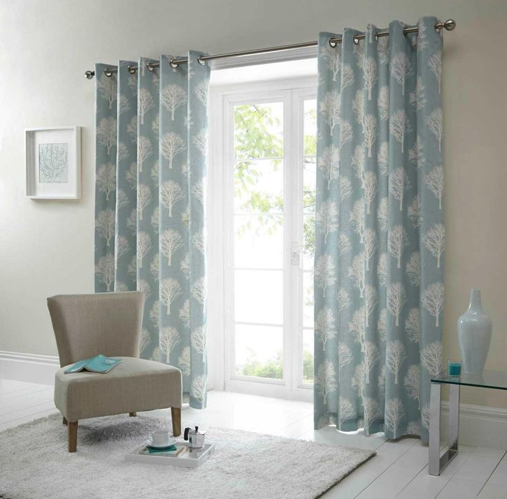 Fusion Cotton Lined Eyelet Curtains - Woodland Trees - Duck Egg Blue - Cushions Available