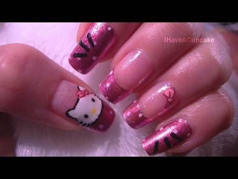 Easy Hello Kitty Nail Art Tutorial!!! ❤Nail Art Supplies❤ http://www.cupcakenailart.com