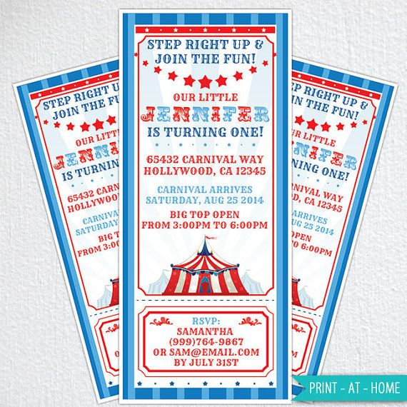 #circusinvitation #carnivalinvitation DIY Circus Invitations / Carnival Party Invitations / Circus Birthday Party