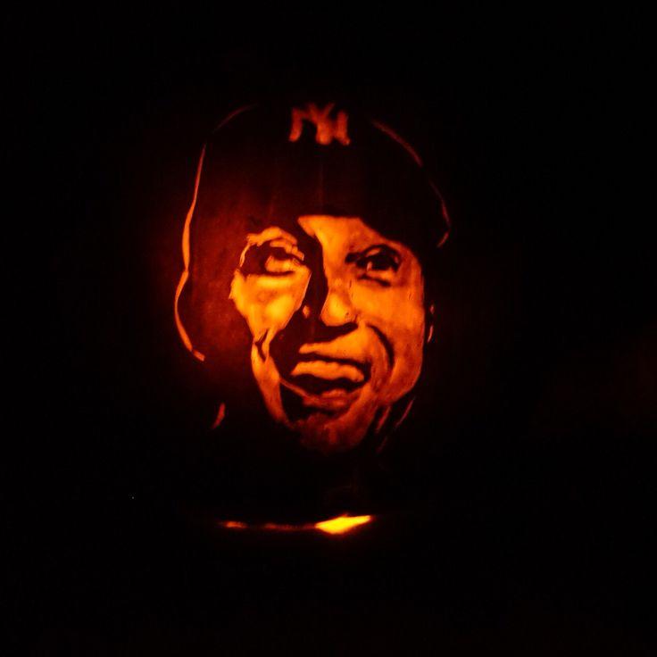 Derek Jeter shaded carved pumpkin.