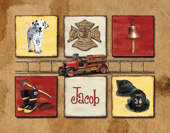 Fireman Wall Art Print Boys Room Decor Baby Stuff Pinterest