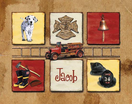 fire righter nursery | Fireman Print - Firefighter Wall Art for Boys : baby nursery decor ...