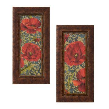 Poppies On Teal Framed Art Print, Set of 2 | Kirkland's