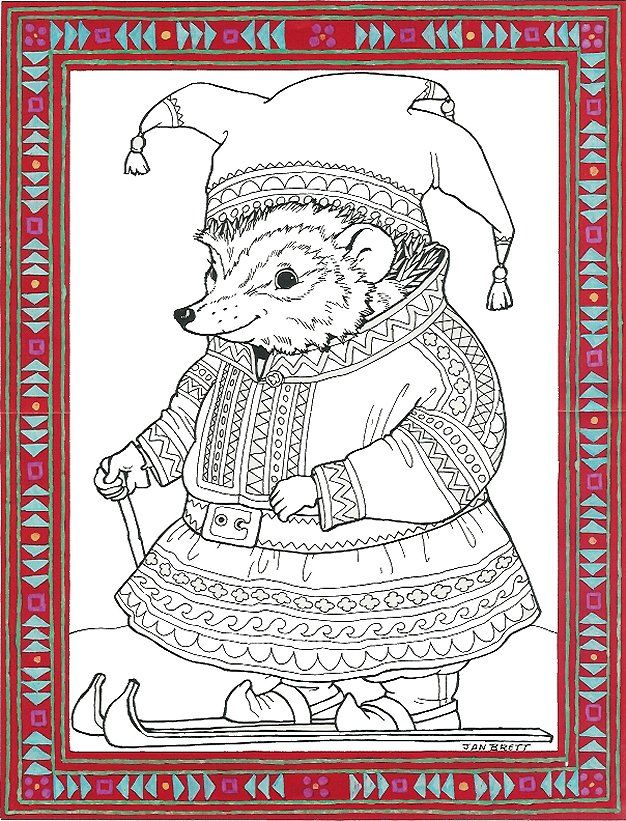 """""""Sami Hedgie"""" This is pretty crazy, I had to pin it. coloring page courtesy of Jan Brett - a children's book illustrator! Her page has a whole collection of coloring pages."""