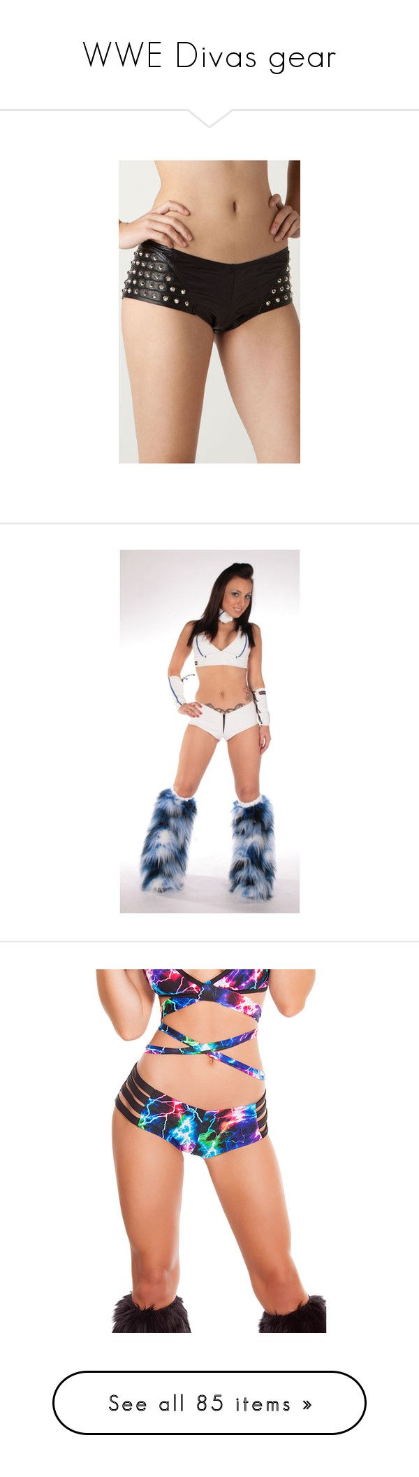 """""""WWE Divas gear"""" by em15905 ❤ liked on Polyvore featuring shorts, bottoms, pants, wrestling, low rise boy shorts, boy shorts, low rise boyshorts, studded leather shorts, low rise shorts and attire"""