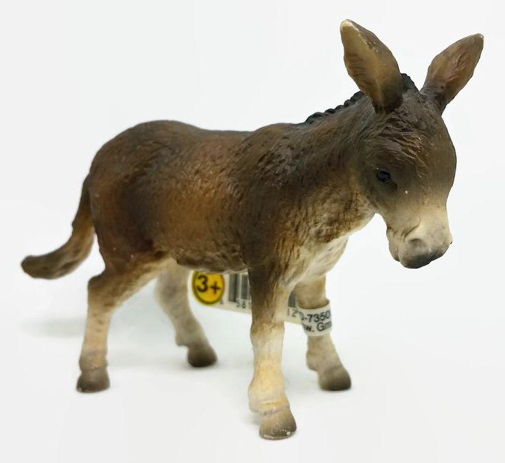 Schleich Donkey Figure 1989 w/ Tag Farm Animal Toy Pretend Play #Schleich