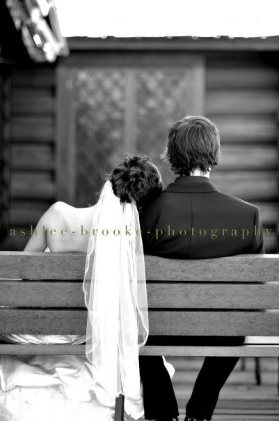 Wedding Picture Idea: Private Relaxation Moment but on the front pew with the big cross in the center