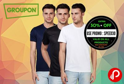Groupon is giving extra 30% off on all fitness items. Get 3 Gym t-shirts+Extra 30% off only in Rs. 599. Extra 30% off Coupon : SPEED30  http://www.paisebachaoindia.com/extra-30-off-on-3-gym-t-shirts-only-in-rs-599-groupon/