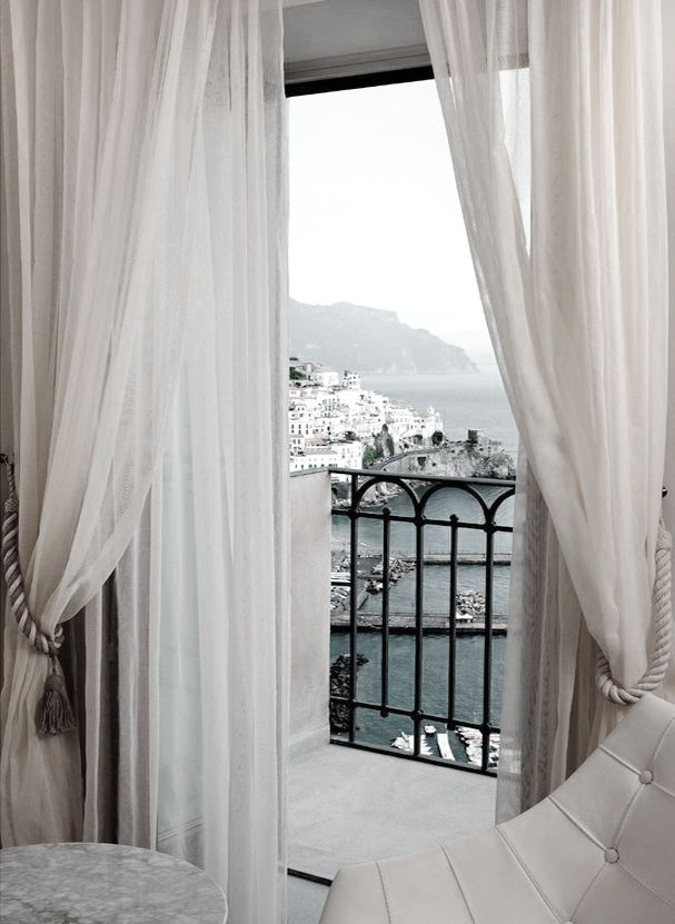 white drapes and a perfect view