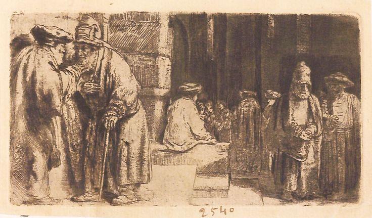 """Evrei în fața sinagogii, 1648, semnată și datată stânga sus: Rembrandt f. 1648. Imagine din colecțiile Bibliotecii """"V.A. Urechia"""" Galați."""