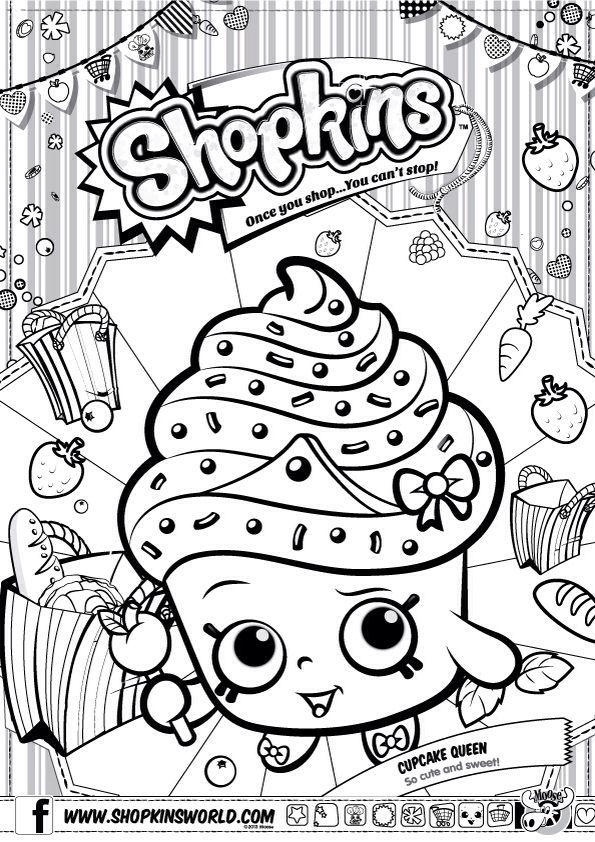 Shopkins Colour Color Page Cupcake Queen ShopkinsWorld: