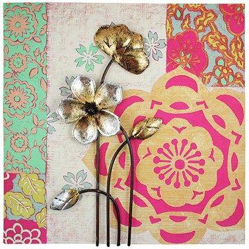 Set of 2 Yang Flower Metal Wall Art