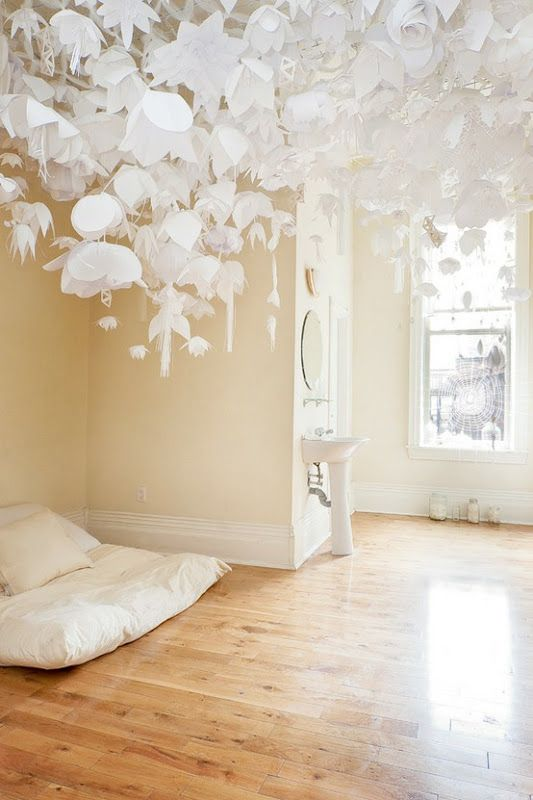 hanging paper flower art installation small spaces