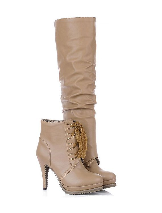 Winter Faux Leather Stiletto Heels Dual Bootie Platform Over The Knee Boots - ecydeal.com