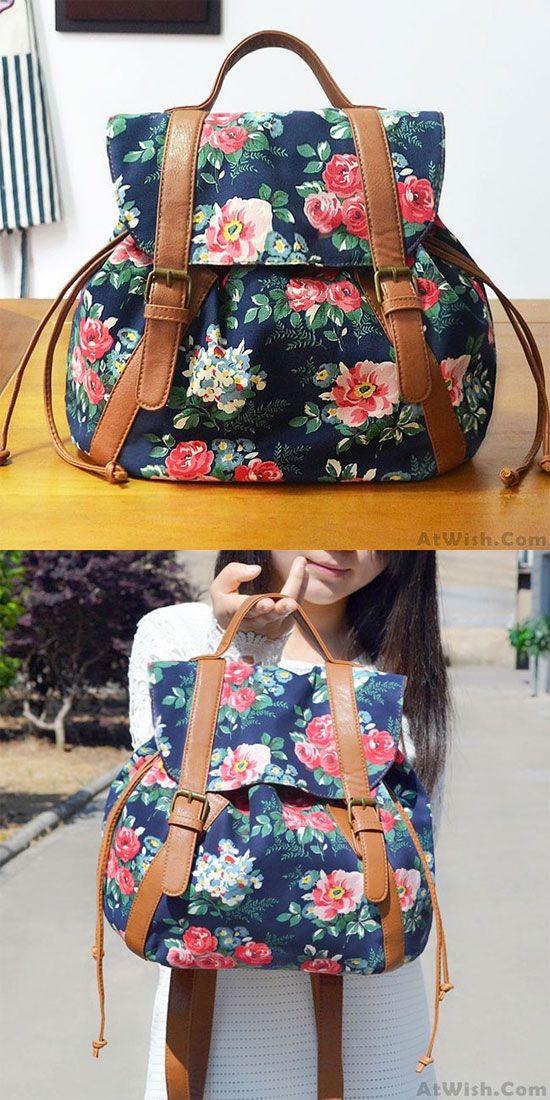 Retro Folk Flower Drawstring National Bag Leisure Small Backpacks for big sale ! #leisure #national #folk #backpack #bag #flower