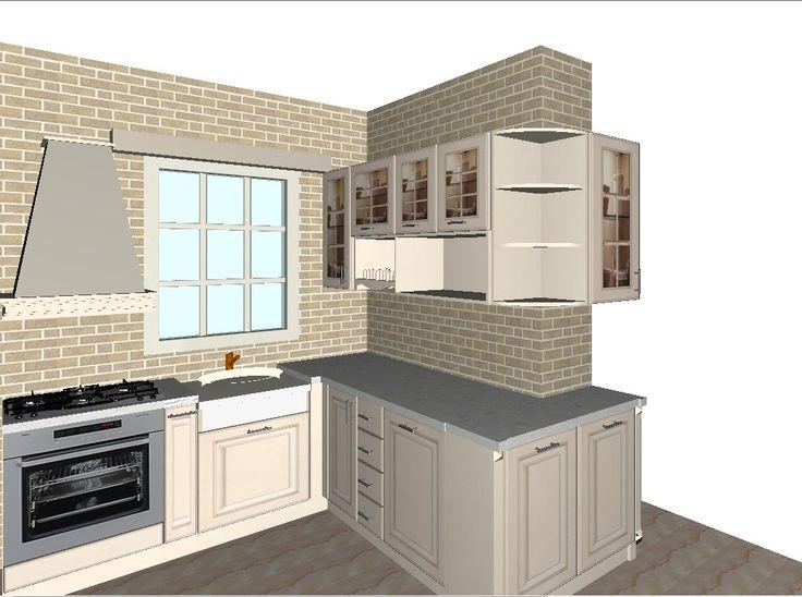 3d κλασικη κουζινα, ξυλινη κουζινα