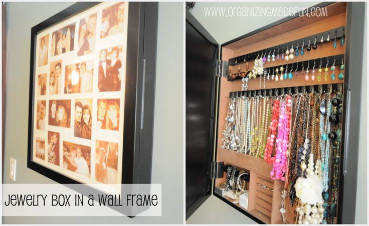 "Right above the small bench is my jewelry organizer. From the  outside it looks like a collage of pictures of my hubby and me. But it opens up to store all my jewelry. Like my clothes, I have a ""one in one out"" rule to keep it from getting too full."