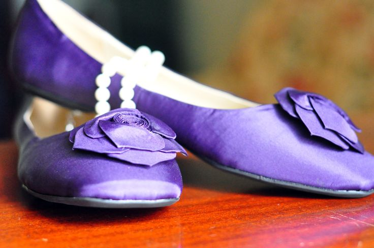 Purple wedding flats- the idea of purple flats could make dancing very comfortable!