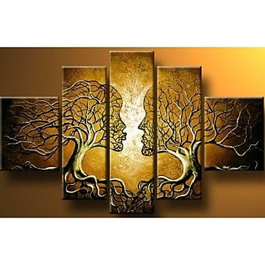 Hand-painted Wall Art Home Decorn Tree Of Life Pictures Modern Abstract 5 Piece Oil Painting On Canvas  Without Frame – USD $ 49.99