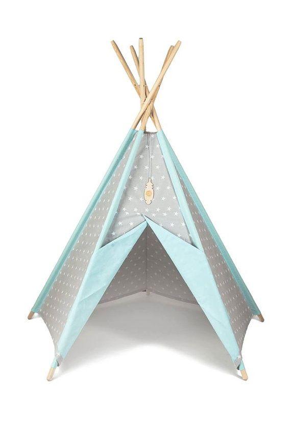 Tipi Kids Play Teepee Tent Little NOMAD grey stars + mint teepee / playtent