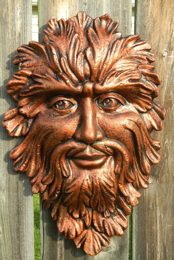 Green Man Face copper color with black by SueSueSueCrafts on Etsy, $24.00