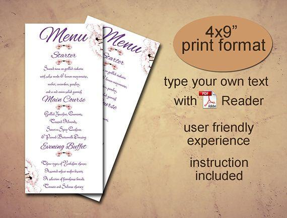 Menu printable template Instant download diy editable pdf