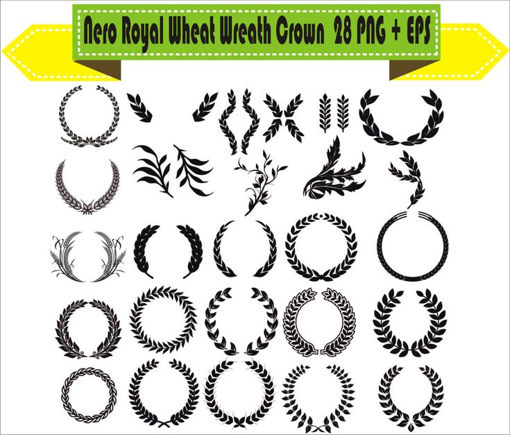 Royal Nero Wheat Wreath Crown Symbols Vintage Motif Pack Silhouette Vector Clipart PNG EPS Digital Files Scrapbook Supplies Instant Download by VectorArtShop on Etsy