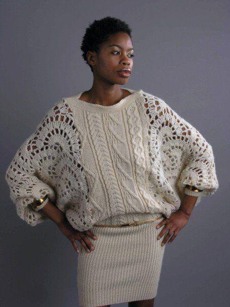Hand & machine knit bat wing dress by Zoe Van Spyk