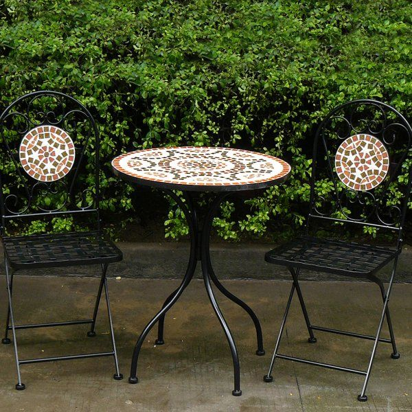 Garden Set For Sale Part - 33: Garden Table And Chairs Bistro Set With A Mosaic Pattern. The Table And  Chairs And Made From Powder Coated Steel For Extra Endurance.