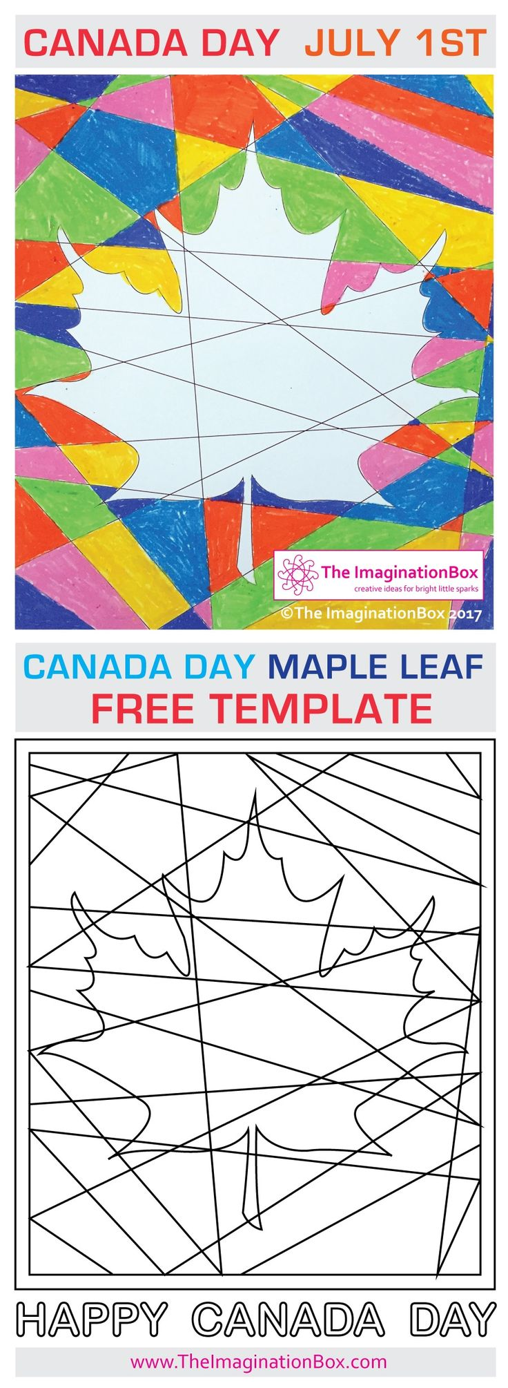 The Imagination Box FREE Celebrate Canada Day abstract Maple Leaf art activity for kids. Canada Day is July 1st. Use this download activity pack at home, school or summercamp