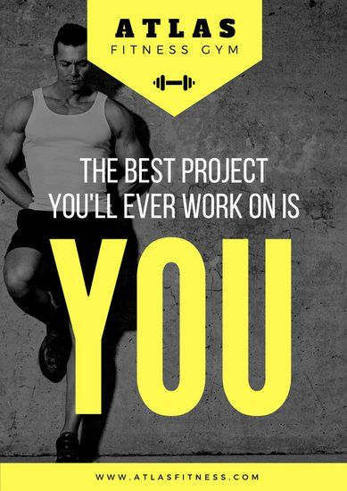 Yellow Motivational Photo Gym Poster Gym Advertising