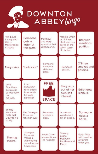 Downton Abbey bingo cards! Set of four. Click here to see all 4: http://www.downtonabbeyaddicts.com/2013/01/downton-abbey-bingo.html