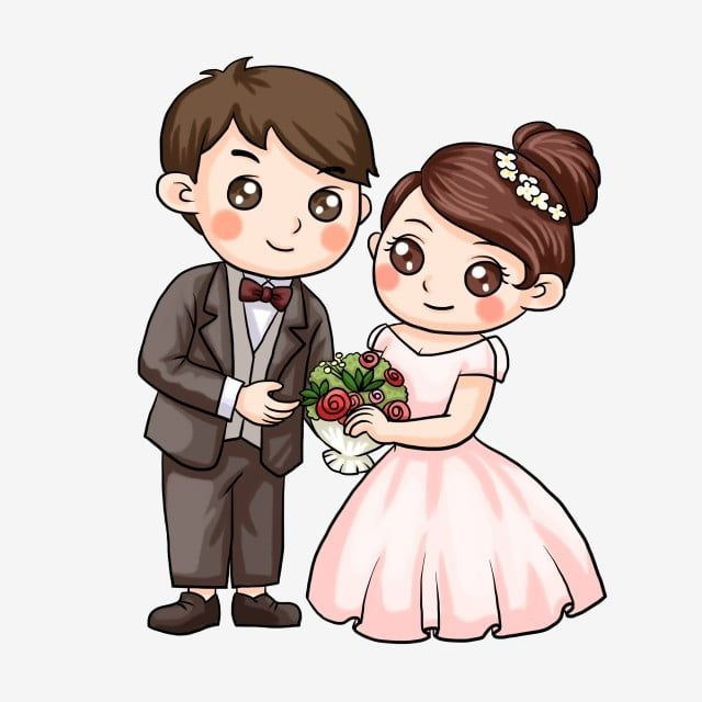 Illustration Married Couple Cartoon Character Bride And Groom Couple Cartoon Loving Coupl Couple Wedding Dress Wedding Couple Cartoon Wedding Background Images