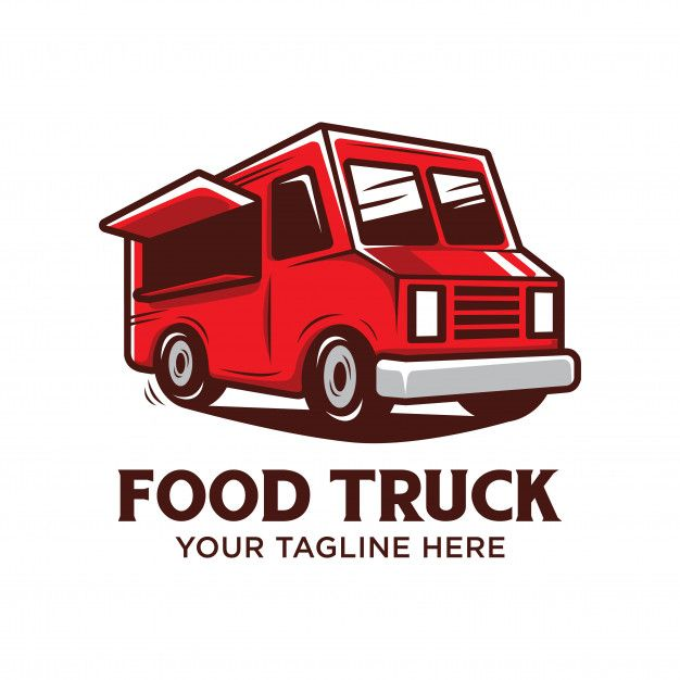 Food Truck Logo With Red Food Truck Vector Illustration Isolated Food Truck Menu Food Truck Design Logo Food Truck