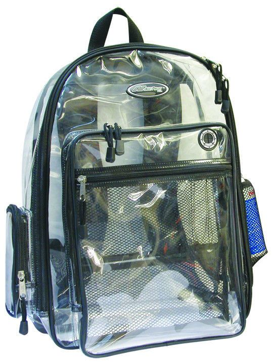 Clear Backpack Black See Through Security Plastic Sports
