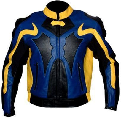 Yellow and blue motorycle jacket with armor protection