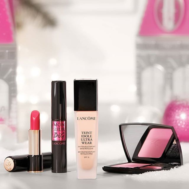 Treat yourself this season with #LAbsoluRouge lipstick, #MonsieurBig mascara, #TeintIdoleUltra foundation and #BlushSubtil! #Lancome #Lipstick #Masacara #Foundation #HolidayWonderland #Holiday