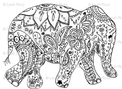Floral Elephant Coloring Pages For Adults